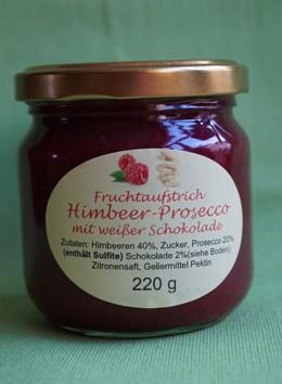 Fruchtaufstrich Himbeer-Prosecco mit weißer Schokolade