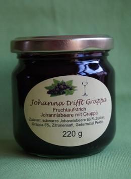 Fruchtaufstrich Johanna trifft Grappa(schwarze Johannisbeere mit Grappa)