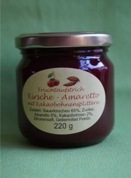Fruchtaufstrich Sauerkirsche Amaretto mit Kakaobohnen- splittern